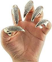 Bestga 10 PCS Rhinestone Costume Claws Fake Nails Ring Set, Gothic Punk 3 Sizes Crystal Full Finger Rings Paved Paw Bend Fingertip Fingernail Claw Girls Women Men Ring False Easy Long Nails Golden