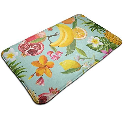 Alfombra de baño, Granada, limón, Flores y Hojas de Palma Alfombra de baño de Felpa con Respaldo Antideslizante 50x80cm