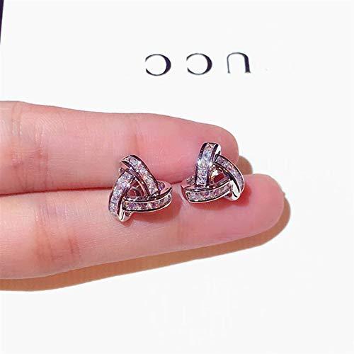 Pendientes de diseño exquisito, con hebilla de ciclo para mujer, diseño de circonita AAA, accesorios de joyería de aniversario de boda (color de gema: plata)