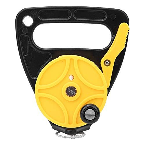 Annjom Schnorchelspule aus Kunststoff, Tauchspulenrolle, verschiebbarer Daumenstopper aus Nylongewebe, für Wracktauchen, Rafting-Tauchen(Yellow (46 Meters))