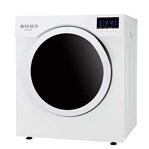 ROVSUN 13LBS Portable Clothes Dryer, 3.5 Cu. Ft High End Front Load Tumble Laundry Dryer w/Stainless Steel Tub & LCD Screen-1500W, White