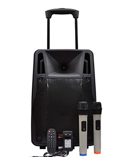 Persang Karaoke A-1231 Trolley Portable Speaker with 2 Wireless Microphone Music System (Black)