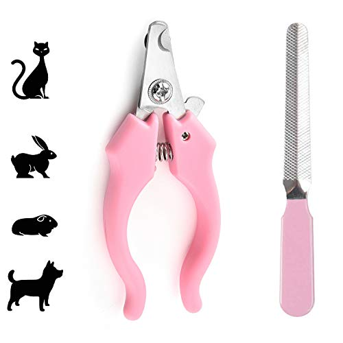 JHCome Professional Stainless Steel Nail Trimmer + Filer for Kittens and Puppy, Best Cat Nail Clippers & Dog Claw Trimmer for Professional Grooming Tool Kit (Pink).