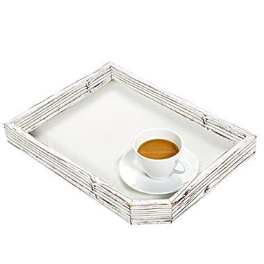 Rustic Farmhouse Style Rectangular Wood Serving Tray with Distressed Whitewash Finish - MyGift