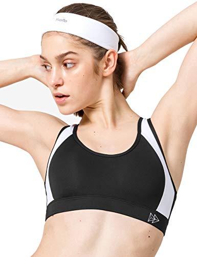 Yvette Damen Sport BH Starker Halt Große Brüste Gekreuzt Rücken Ohne Bügel Gepolstert für Fitness Lauf Yoga, Schwarz/Weiß, 90E