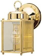 Westinghouse Lighting 6693600 One-Light Exterior Wall Lantern, Polished Brass Finish on Steel with Clear Glass Panels
