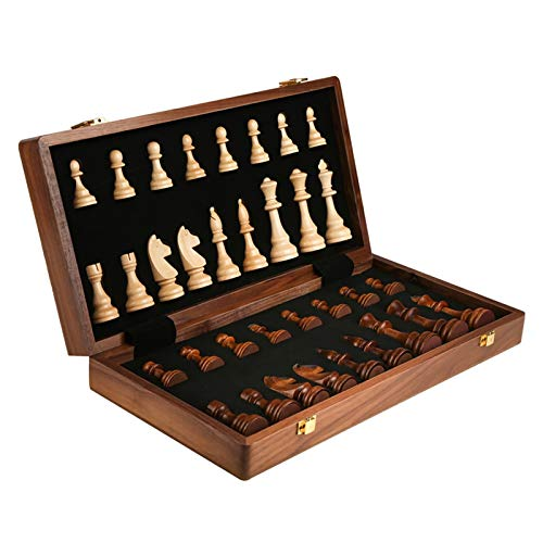 2 in 1 Folding Wooden Chess Set for Adults/Chess Pieces Box, 3in King Height Chess Pieces / 2 Extra Free Queen / 15in Unique Chess Sets and Boards Game for Kids Mens Gifts