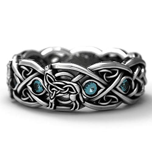 Stainless Steel Woven Wolf Celtic Knot Band Ring for Men Women Vintage Jewelry (Silver,8)