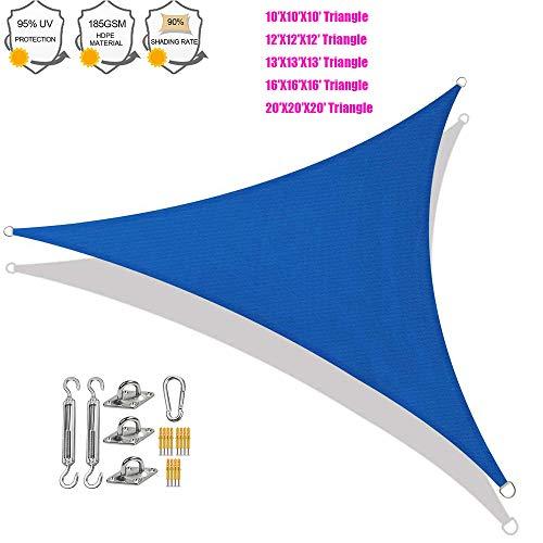 YSHUAI - Toldo triangular permeable, kit de accesorios de fijación HDPE para terraza, toldo triangular, protección de rayos UV, transpirable, resistente, azul, 16'X16'X16'(5mX5mX5m)