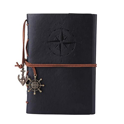 Maleden Reisetagebuch, Vintage-Stil, nachfüllbar, hochwertiges PU-Leder, klassisch geprägt, Reisetagebuch, Notizbuch mit leeren Seiten und Retro-Anhängern (dunkelblau)