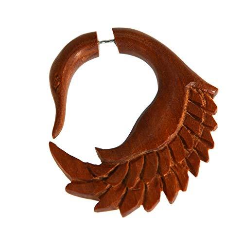 CHICNET Pendiente falso de 1 mm, gancho de cisne, madera de sawo, color marrón rojizo, espiral de dilatación, joya tribal.