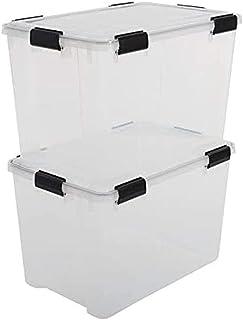 Iris Ohyama 135455 Lot de 2 boîtes de Rangement hermétique 70 litres, Plastique, Transparent, 70 L