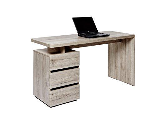 Amazon Marke -Movian Skadar - Schreibtisch mit 3 Schubladen, 140x55x76cm, Farbe: San Remo Eiche