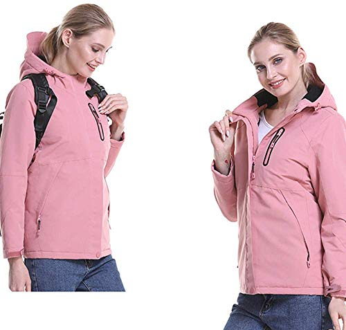 Winter elektrisch verwarmde jas, mannen en vrouwen USB verwarming lichte mantel, warm katoenen kleding, onder katoen materiaal, wasbaar, voor outdoor-kamperen, bergbeklimmen en skiën, WomanPink-M