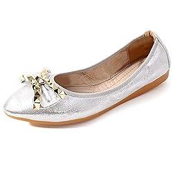 Silver-1 Foldable Ballet Flats Rhinestone Pointed Toe Slip on