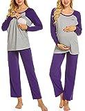MAXMODA Premamá Pijama Conjunto Camiseta y Pantalones Embarazo Lactancia Maternidad Morado L