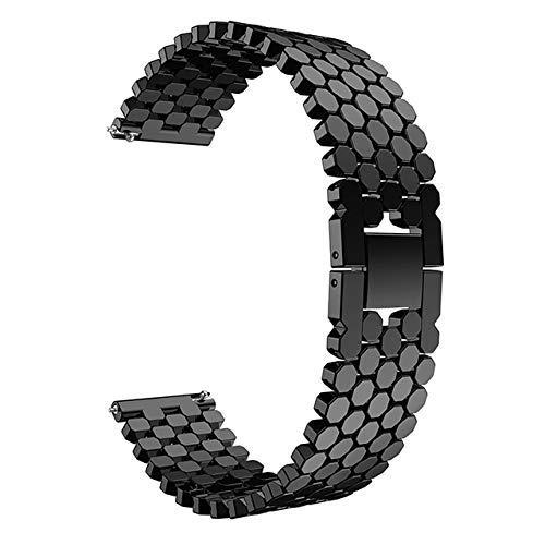 De Galen DIY - Correa de reloj de acero inoxidable de 22 mm para Samsung Galaxy 46 mm Gear S3 Classic Frontier Band Band pulsera de enlace correa de reloj (color: negro)