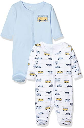 NAME IT Baby-Jungen NBMNIGHTSUIT 2P W/F 3 NOOS Schlafstrampler, Mehrfarbig (Cashmere Blue Cashmere Blue), 68 (2er Pack)