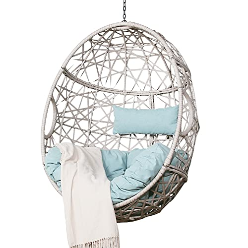 Ulax Furniture Outdoor Patio Wicker Hanging Basket Swing Chair Tear Drop Egg Chair with Cushion (Blue)
