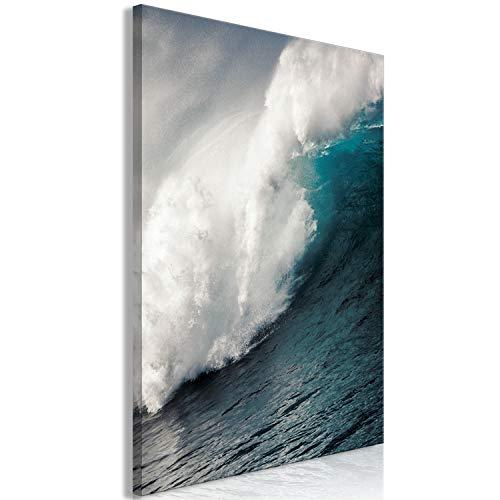 murando Akustikbild Welle Meer 80x120 cm Bilder Hochleistungsschallabsorber Schallschutz Leinwand Akustikdämmung 1 TLG Wandbild Raumakustik Schalldämmung - Wasser blau c-B-0425-b-a