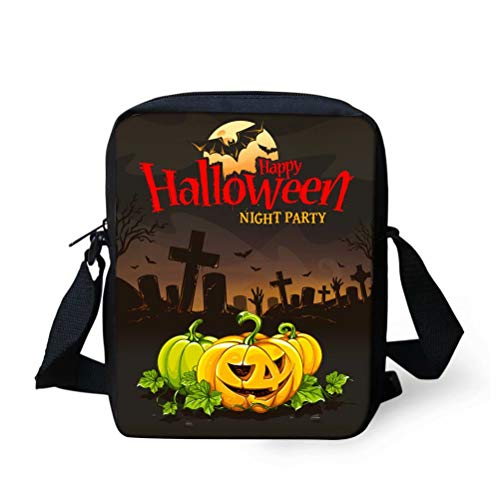 NDISTIN Halloween Women's Ladys Crossbody Purse Funny Pumpkin Pattern Tween Purses Small Messenger Bags Best Gifts for Teen Girls Travel Hiking Pouch Wallet Change Holder Black Unique with Zipper