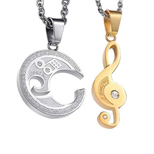 TENDYCOCO Parejas Clave Sol símbolo de la música Colgante Collar Rompecabezas Colgante Cadena Amistad Collar