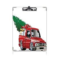 クリップボード A4 クリスマス 学用品A4 バインダー 赤いギフトトラック A4 タテ型 クリップファイル ワードパッド ファイルバインダー 携帯便利大きなギフトボックスとツリークリスマスアートプリントファームモーターテーマ ホワイトレッド