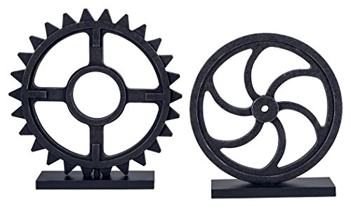 Signature Design by Ashley Dermot Industrial 2 Piece Decorative Metal Sculpture Set, Black
