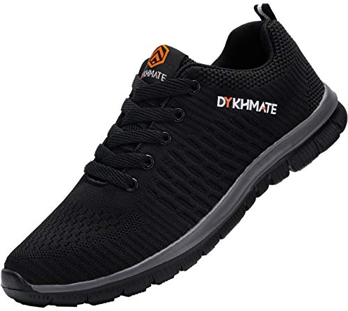 DYKHMATE Chaussures de Sport Homme Legere Gym Fitness Sport Sneakers Respirante Style Running Baskets (Gris Noir,41 EU)