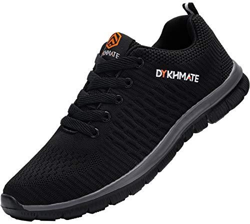 DYKHMATE Zapatillas de Deportes Hombre Ligero Transpirable Zapatos para Correr Gimnasio Casual Sneakers (Negro Gris,43 EU)