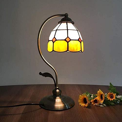 Lámpara de mesa mediterránea de cristal teñido, lámpara de estudio de arte cálido como regalo de cumpleaños para hombres y mujeres-G