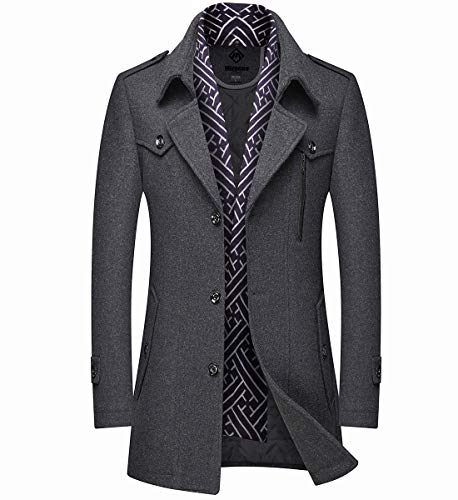 Mirecoo Herren warm Wollmantel Kurzmantel Winter Jacke Business, Grau 06, M
