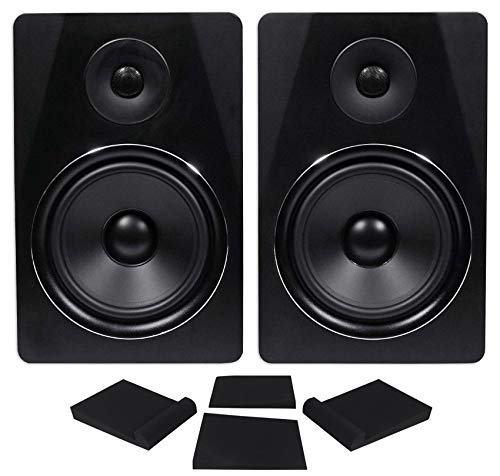 "Pair Rockville APM8B 8"" 2-Way 500 Watt Powered USB Studio Monitor Speakers+Pads"