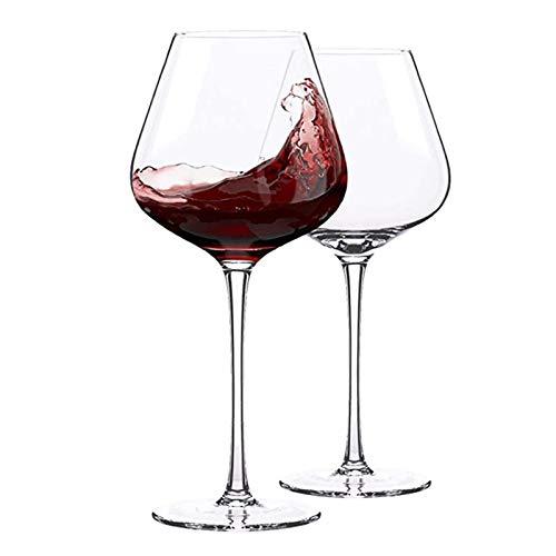 Cristal Premium - Cata de vinos Copas de vino, copas de vino de cristal, copas de vino blanco, conjunto de 2 copas de vino de tallo largo, cristal premium, boda, aniversario, navidad 560ml Regalos úni