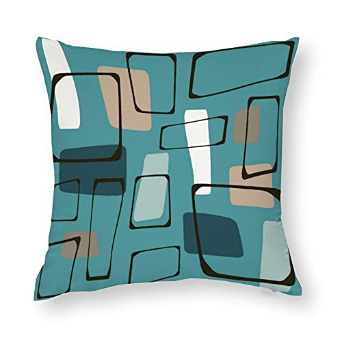 Outdoor Throw Pillow Covers 18'×18' Home Decor Square Cushion Cover Farmhouse Pillowcases for Home Bedroom Bed Sofa Car Throw Pillow Turquoise Eames Style Art