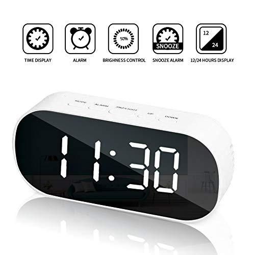 SANBLOGAN Digitaler Wecker,LED Wecker Digital,Spiegel Wecker,USB Wiederaufladbar Reisewecker,mit Snooze/Datum/Temperatur Luftfeuchtigkeit,passt gut Dekoration im Schlafzimmer Büro-weiß