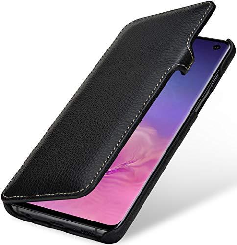 StilGut Book Hülle kompatibel mit Samsung Galaxy S10 Hülle aus Leder mit Clip-Verschluss, Lederhülle, Klapphülle, Handyhülle - Schwarz