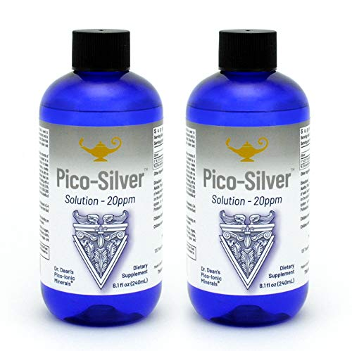 RnA ReSet - Pico Silver Solution, Stabilized Silver Liquid Supplement, More Absorbable Than Colloidal Silver Liquid, Minerals Dietary Supplement, 20 ppm, 8.1 oz - by Dr. Carolyn Dean - 2-Pack
