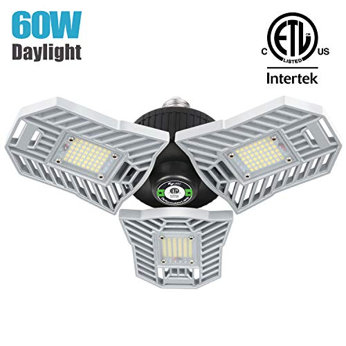 Falive Garage Lighting 60W 6000 Lumens Three Leaf Garage Light Super Bright Led Garage Lights Deformable Led Garage Ceiling Lights Led Shop Light for Garage Workshop Barn Attic (No Sensor)