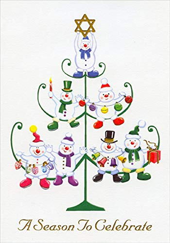 Designer Greetings Tree Shaped Stand with Snowmen, Christmas and Hanukkah Ornaments Interfaith Holiday Card