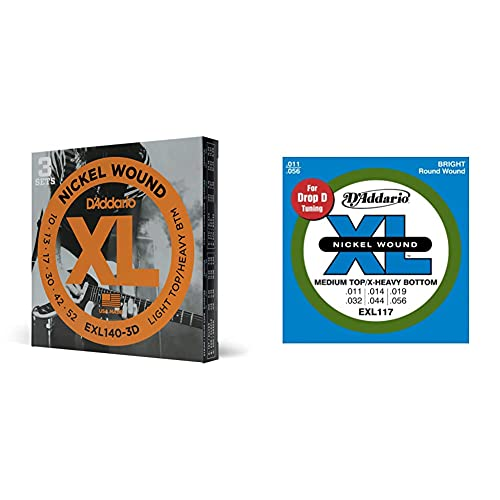 D'Addario Exl140-3D Juego De Cuerdas Para Guitarra Eléctrica De Acero Y Níquel.010 .052 + Exl117 Juego De Cuerdas, Plateado, 11-56