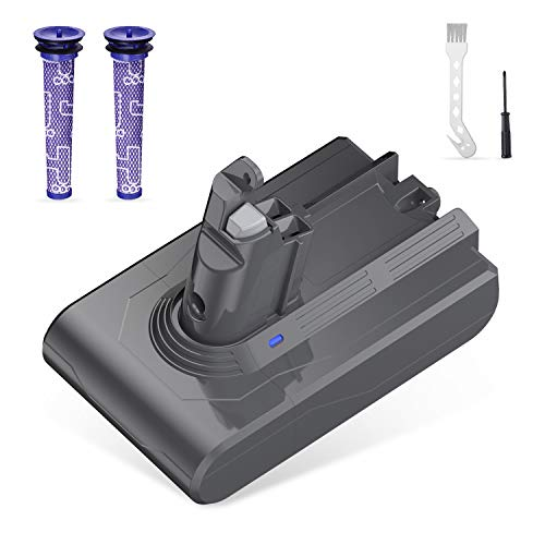 SURTOP 3.5Ah 21.6V Battery Replacement for V6 DC58 DC59 DC61 DC62 Animal DC72 DC74 595 650 770 880 Motorhead Cordless Stick Handheld Vacuum with 2 Filters & 1 Brush & 1 Screwdriver
