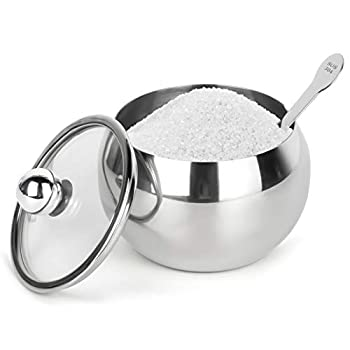 Stainless Steel Sugar Bowl with Clear Lid and Sugar Spoon 8.1 Ounces 240 Milliliter  Sugar Container for Home and Kitchen