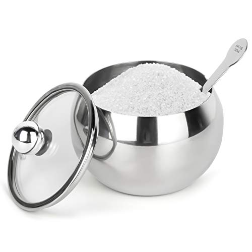 Stainless Steel Sugar Bowl with Clear Lid and...