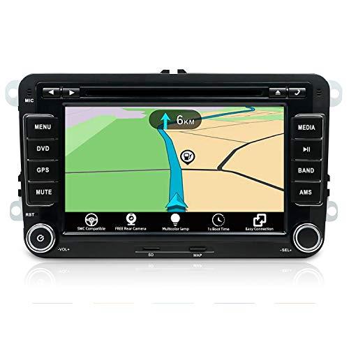 Autoradio 2 DIN Car Stereo Navegacion Compatible para Volkswagen VW Seat Skoda Polo Passat TIGUAN Golf | 7 Pulgadas | Libre Cámara Trasera & Canbus | Soporte GPS Volante BT USB SD (con Mapa de 8 GB)