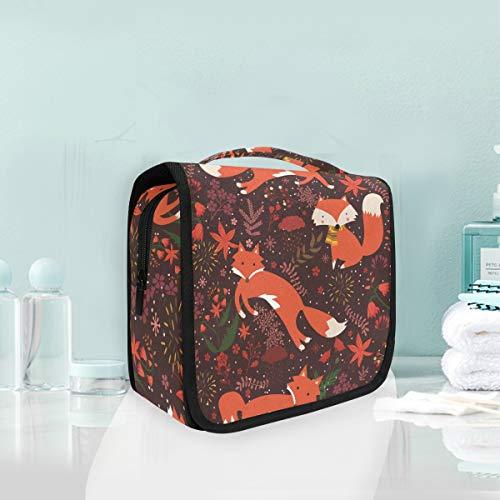 Hanging Foldable Toiletry Cosmetic Bag Animal Fox Makeup Travel Organizer Bags Case for Women Girls Bathroom