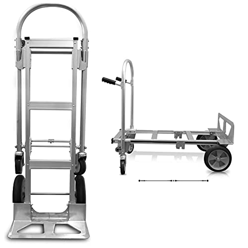 Heavy Duty Convertible Hand Truck Dolly with Double Grip Handles Fully Assembled | Aluminum Jr. Moving Dolly Converts from Hand Truck to Platform Push Cart in Seconds Utility Cart 52 x 41 x 44 Inches