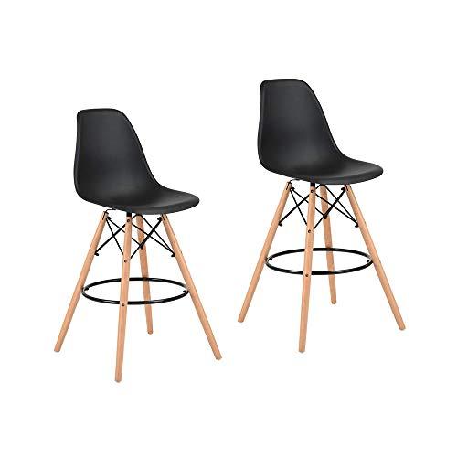 FurnitureR Eames Bar Stools Set de 2, taburete de bar moderno y cómodo sin brazos, taburetes laterales…