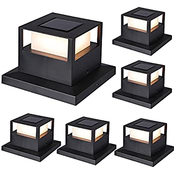 MAGGIFT 6 Pack Solar Post Lights 20 Lumen Outdoor Warm White High Brightness SMD LED Lighting Solar Powered Cap Light Fits 4x4 5x5 or 6x6 Wooden Posts Waterproof for Yard Fence Deck or Patio