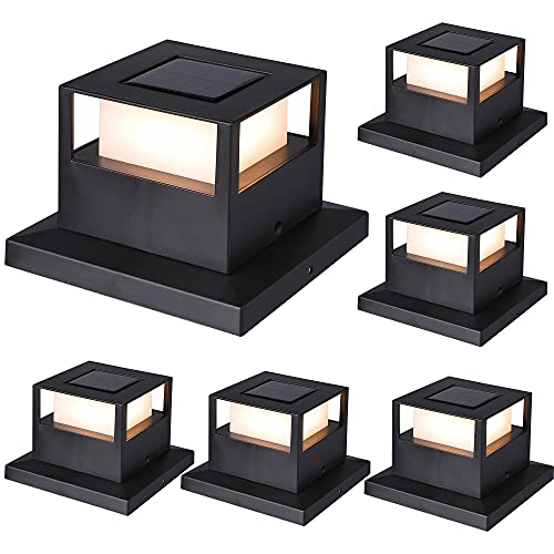MAGGIFT 6 Pack Solar Post Lights, 20 Lumen Outdoor Warm White High Brightness SMD LED Lighting Solar Powered Cap Light, Fits 4x4, 5x5 or 6x6 Wooden Posts, Waterproof for Yard Fence Deck or Patio